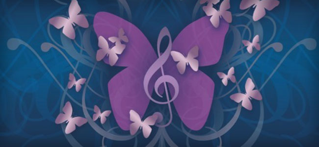 a purple butterfly with a treble clef symbol on a dark blue background
