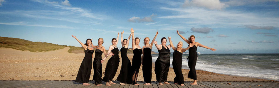 Classical vocal ensemble La Nova Singers at Hengistbury Head in Dorset
