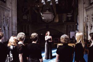 Female singers in Christchurch Priory, Dorset, UK