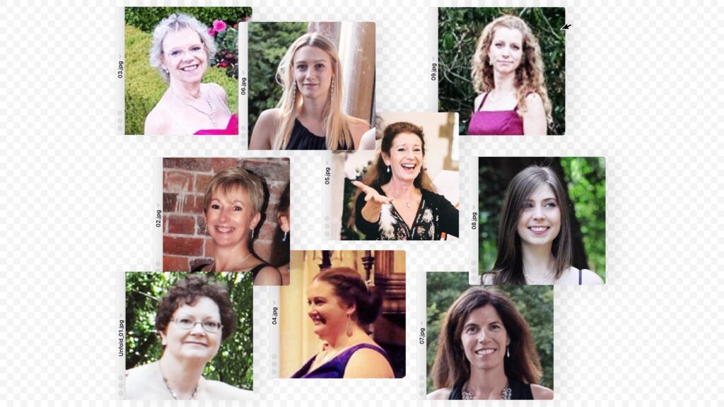 Nine female choral singers pictured in separate dialogue boxes, as if they were arranged on a computer screen