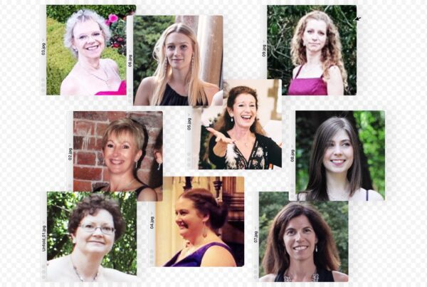 Nine female choral singers pictured in separate dialogue boxes, as if arranged on a computer screen